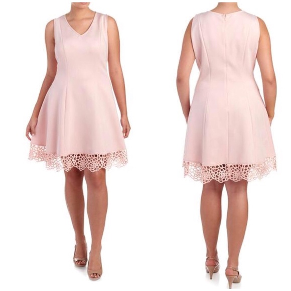 3f3b1554c1d NWT Donna Ricco Crochet Pink Fit   Flare Dress 16W